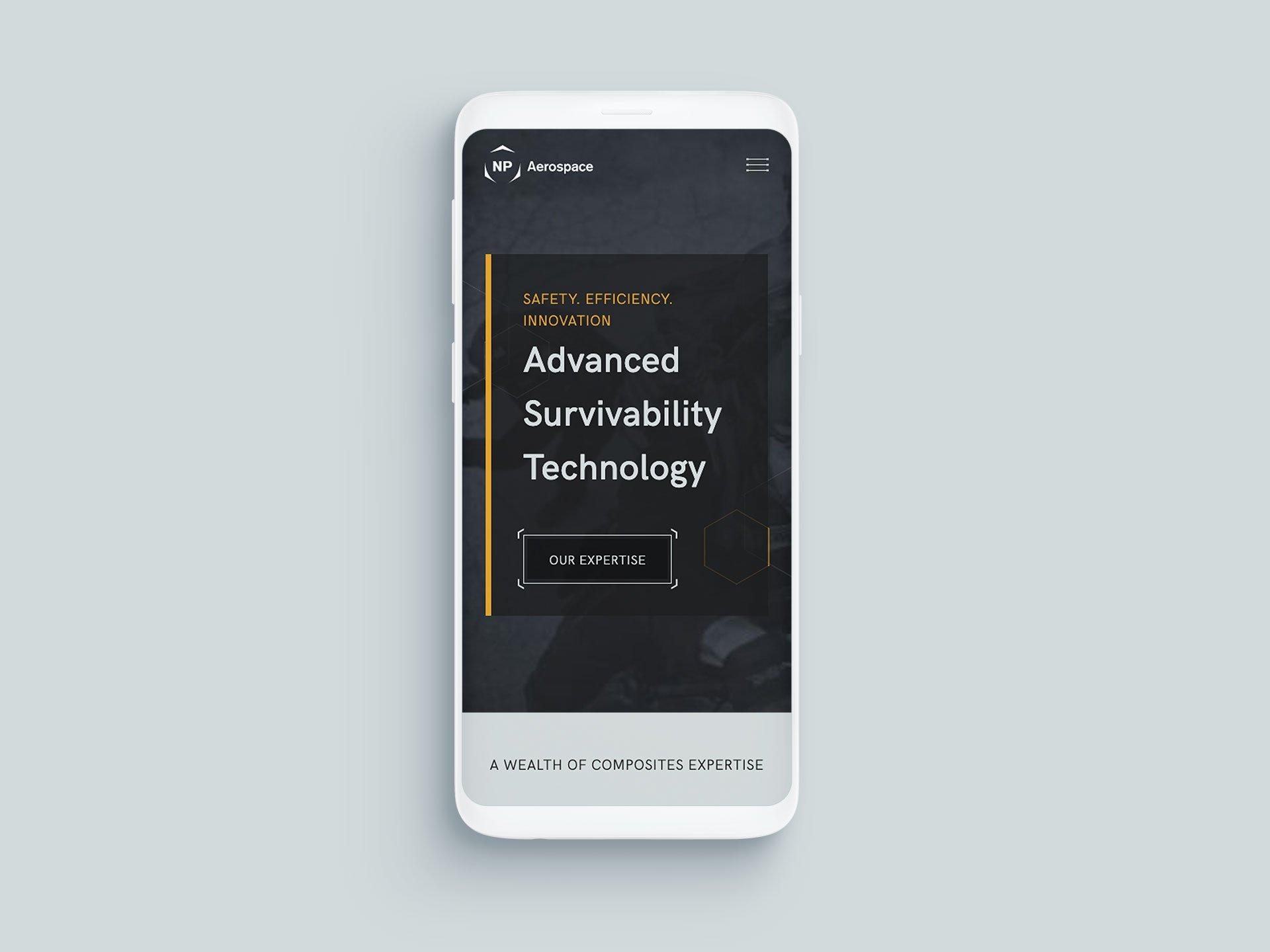 NP Aerospace Website On Mobile