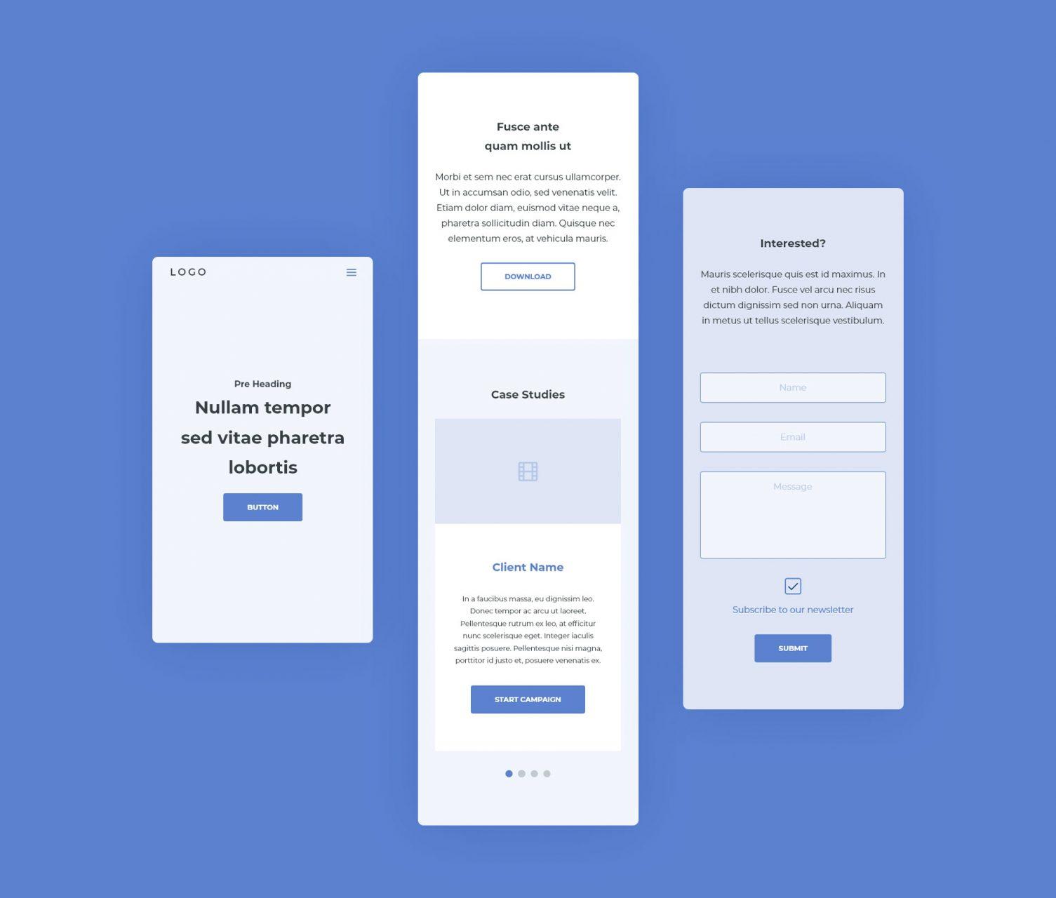 Mobile Website Wireframes